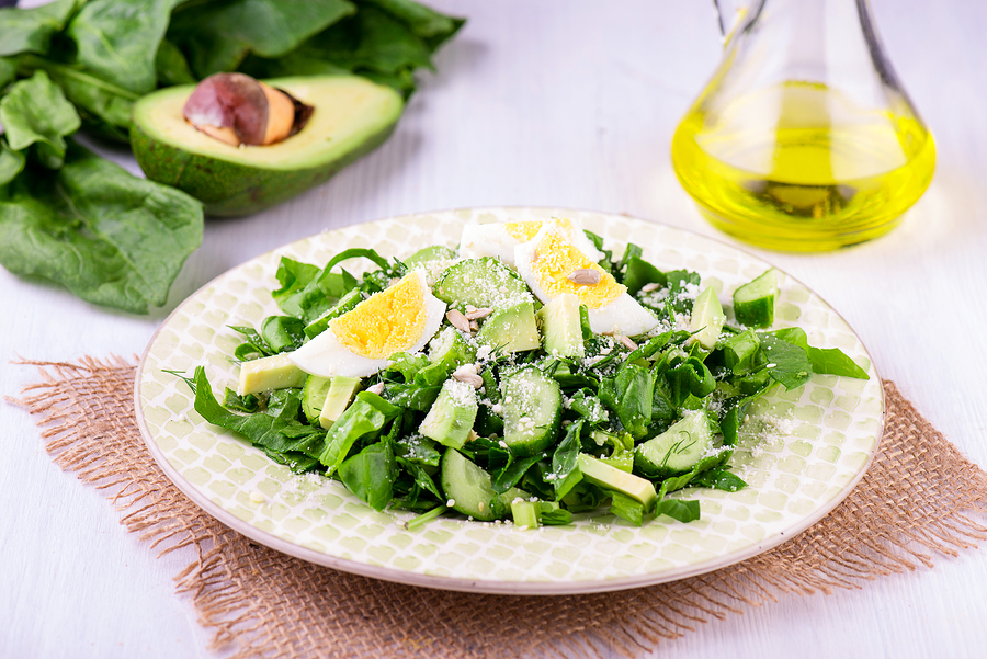 bigstock Spinach And Avocado Salad On W 133104995